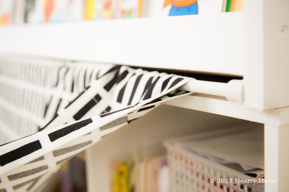 突っ張り棒 シエナ カフェカーテン おもちゃ収納 絵本棚